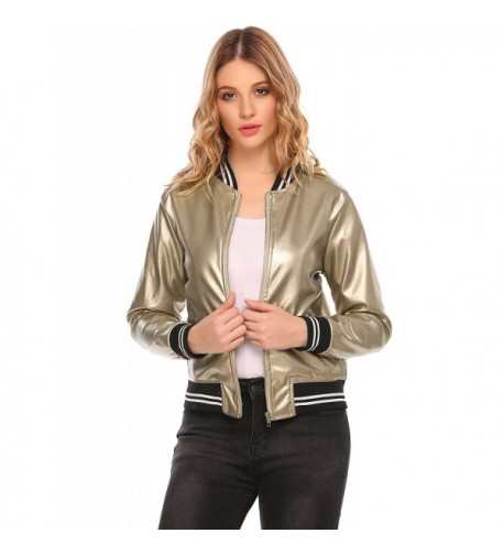 ODlover Womens Leather Baseball Bomber