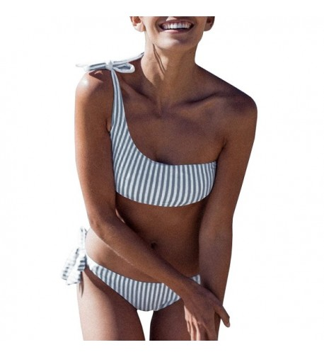 GAMISOTE Swimsuit Striped Bathing X Large