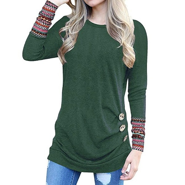 fdf2d36ab7cc2 ... Womens Sweatshirts Long Sleeve Tees Tunic Tops Patchwork Cute Shirts  Loose Blouses - Green - C61800N4RZ4. Cnfio T Shirt Patchwork Blouses  Sweatshirts