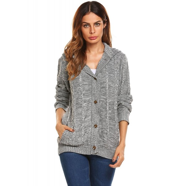 Women\u0027s Long Sleeve Cable Knit Hooded Button Down Cardigan Sweaters Jacket  , Gray , CX1869G7WKT