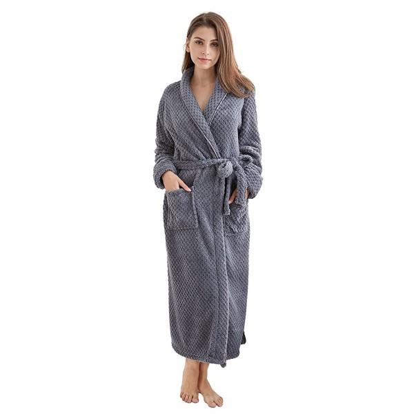 TONY   CANDICE Women s Fleece Bathrobe Long Shawl Collar Robe - Gray ... e04807f7a5