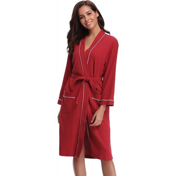 Bathrobes For Women Waffle Weave Spa Robe Womens Kimono Lightweight ... 4e8d10b74