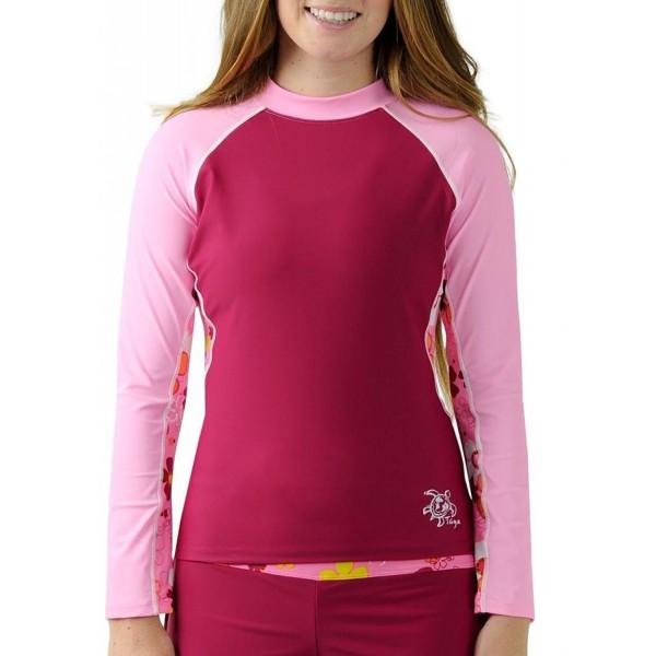7565aad2c4 Tuga Women's Long Sleeve Rash Guard- UPF 50+ Sun Protection Swim ...