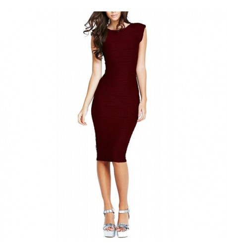 REPHYLLIS Womens Bodycon Business Burgundy