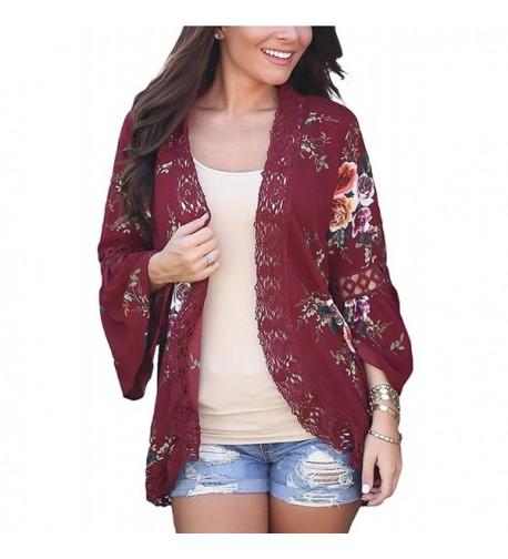 Sleeve Floral Kimono Cardigan Blouse