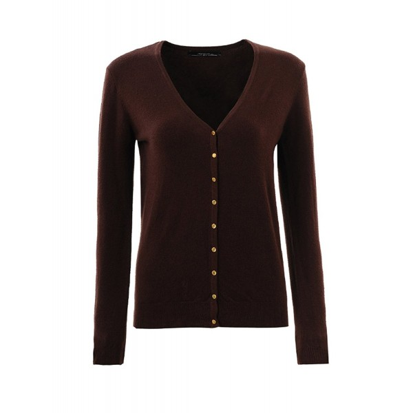 387d79c987 Women Button Down Long Sleeve V-Neck Classic Soft Cardigans Sweaters ...