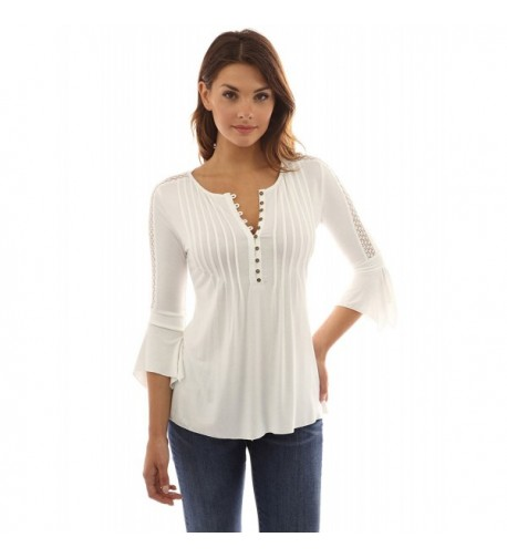 PattyBoutik Womens Henley Sleeve Off White