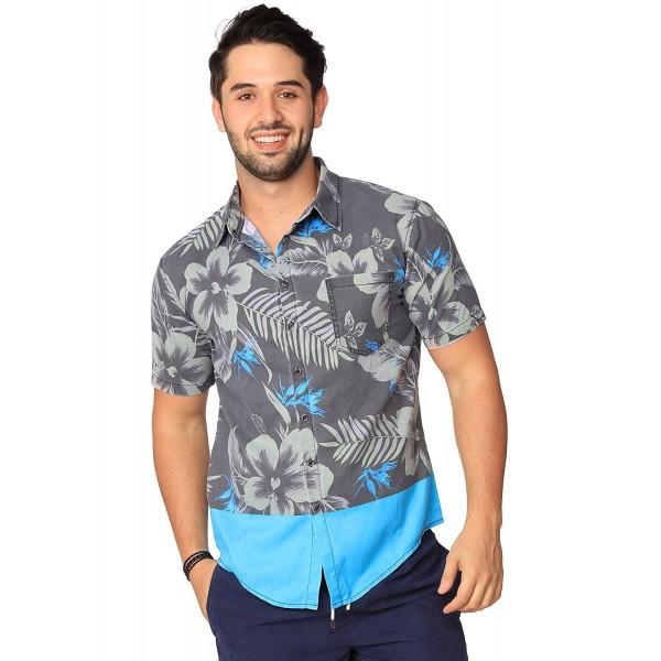 Button Summer Sleeve Tropical Hawaiian