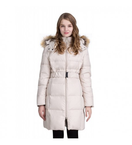 ADOMI Womens Belted Jacket Faux Fur Trimmed