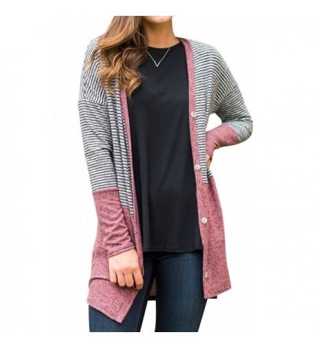 Striped Longsleeve Blocked Cardigan Sweater