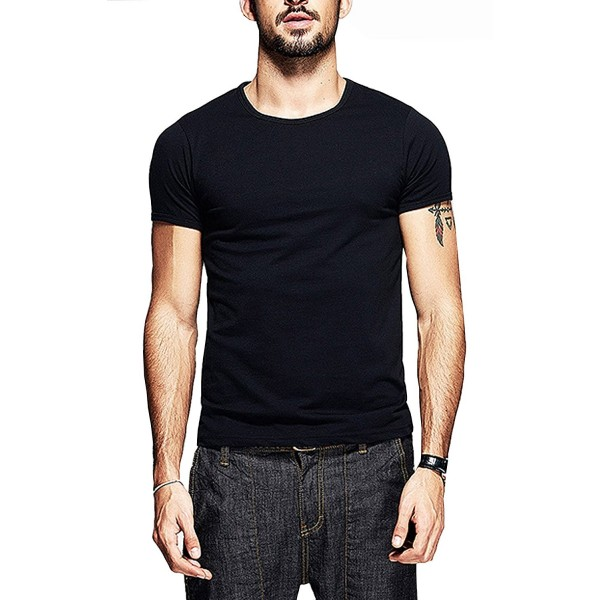 Mens Slim Fit T Shirts Soft Short Sleeves Athletic Muscle Cotton Activewear Black CC18807N6MO