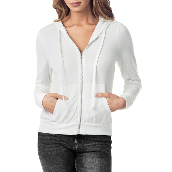 99806cef7f ... Women s Lightweight Full Zip Up Soft French Terry Hoodie Sweater Jacket  - Offwhite - CQ180W2EIAW. juellie Womens Lightweight Sweater Offwhite