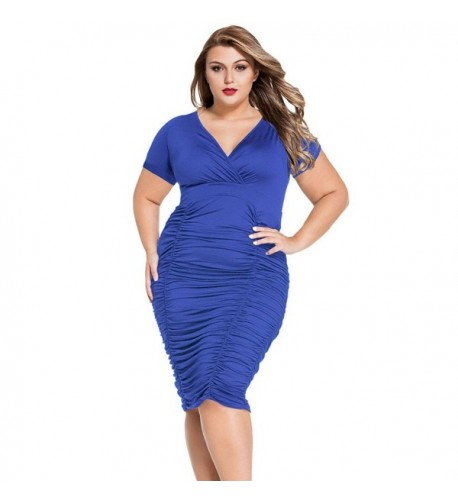 Tiksawon Women Ruched Bodycon XXXL