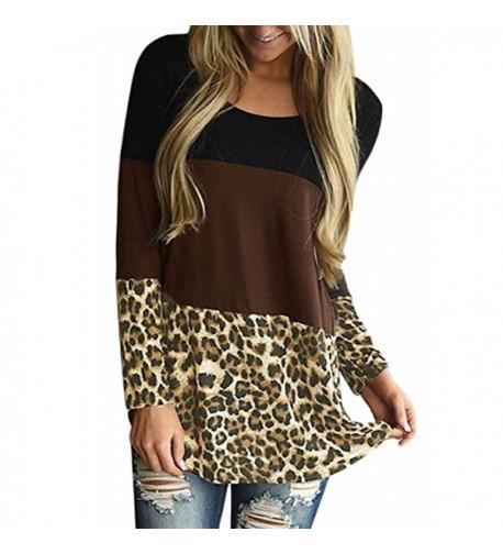 Yidarton Womens Crewneck Leopard T Shirt