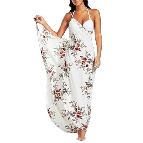 2edbc3cf0c ... Cover Up- Spaghetti Strap Backless Floral Printed Long Maxi Beach Dress  - White - CA180IOZO78. Womens Spaghetti Backless Floral Bikini
