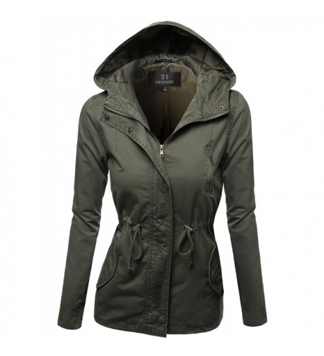 Hooded Drawstring Military Jacket Outerwear