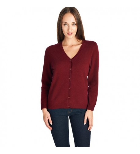 High Style Cashmere Cardigan Burgundy