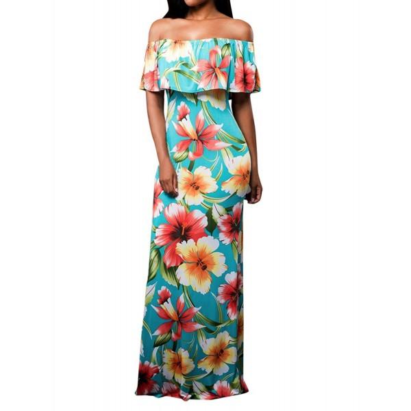 facc53430708 Women s Off Shoulder Dress Slim Fit Floral Printed Party Boho Maxi ...