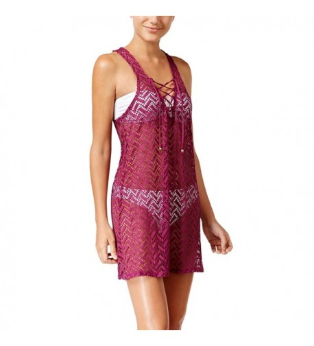 Miken Lace Up Crochet Swimsuit Cover Up