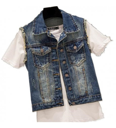 Womens Girls Sleeveless Relaxed Jacket