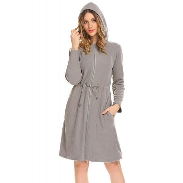 c559833a62 Women Warm Hooded Long Sleeve Slim Fit Waist Drawstring Zipper ...