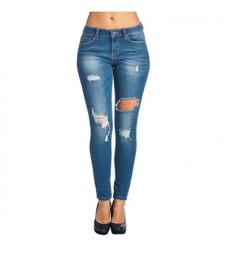 Trinity Jeans Distressed Stretchy Blue 1001