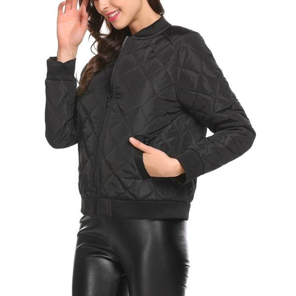 5dc0a112966 ... Quilted Bomber Jacket - Black - CB189LDXT0Z. Mofavor Sleeves Zippered  Pockets Lightweight