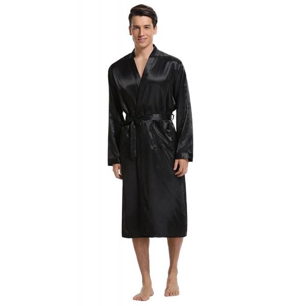 09350bfbc9 ... Men s Satin Robe Long Bathrobe Lightweight Sleepwear - Black -  CP188000IMI. Aibrou Satin Bathrobe Lightweight Sleepwear
