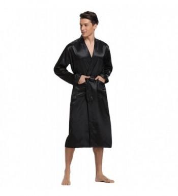 0ca1bf125c Aibrou Satin Bathrobe Lightweight Sleepwear  Fashion Men s Bathrobes ...