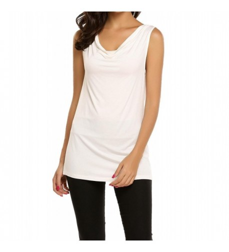 Yiilove Cowl Neck Ruched Sleeveless Stretchy