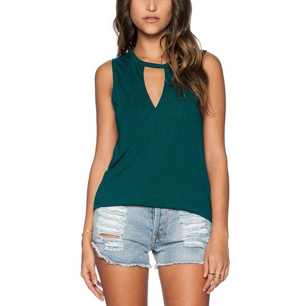 Fihapyli Sleeveless T Shirts Backless DarkGreen