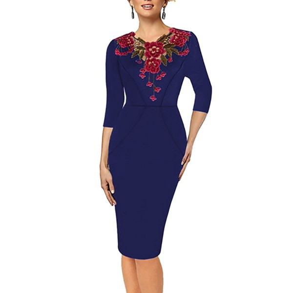 Samtree Womens Vintage Embroidery Bodycon