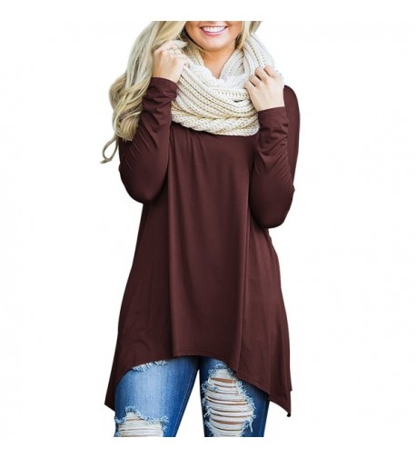 OUGES Women Sleeve Casual Coffee