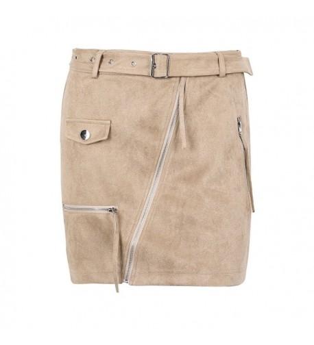 Glamaker Womens Bodycon Zippers Pockets