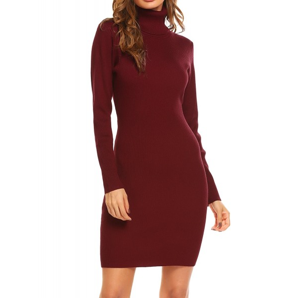 72b45d13a2b4 ... Long Sleeve Bodycon Sweater Dress - Wine Red - CR18627OT4A. Zeagoo  Womens Turtleneck Bodycon Sweater