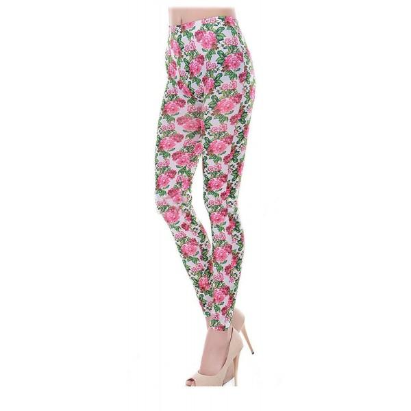 SACASUSA Fashion Roses Footless Leggings
