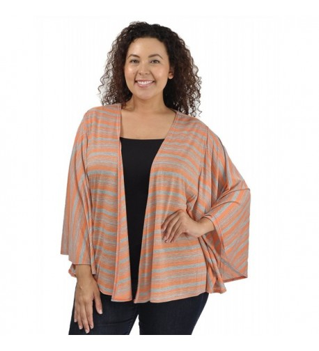 Womens Jersey Cardigan Orange Stripe