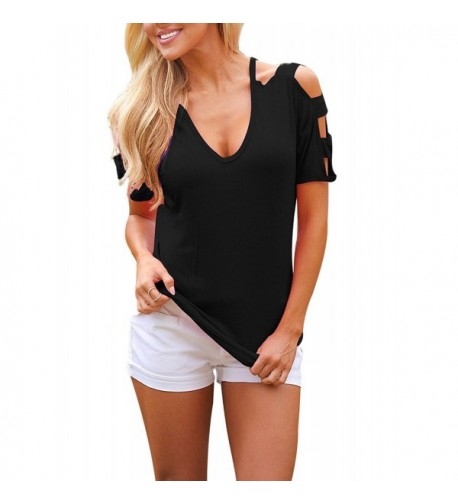 Womens Shoulder Sleeve Casual T Shirt