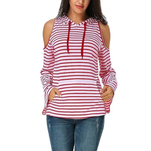 Auxo Shoulder Striped Pullover Sweatshirts