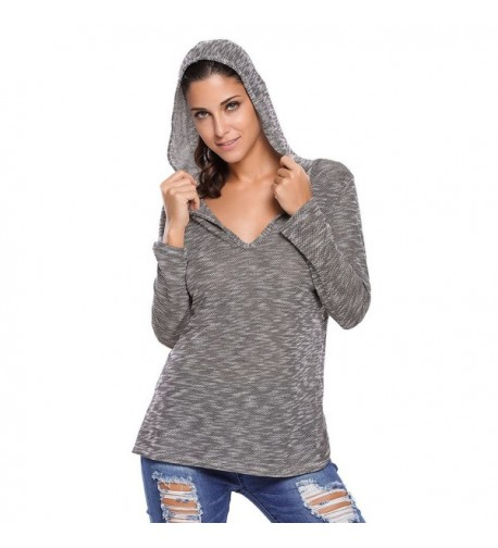 Tiksawon Womens Hooded V Neck Knitted