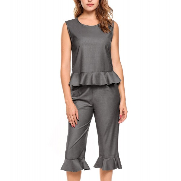 Zeagoo Womens Sleeveless Ruffled Office