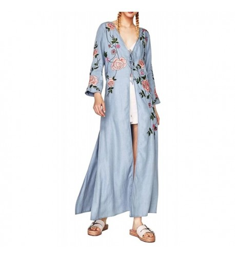 R Vivimos Floral Embroidered Cardigan Kimono
