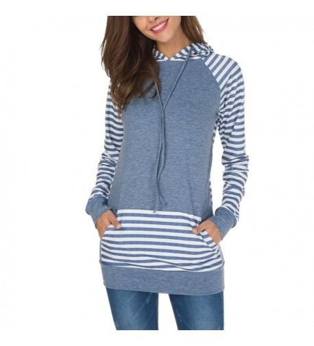 Staraxy Striped Pullover Drawstring Sweatshirts