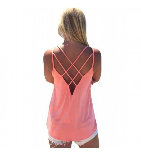 Trendy Crisscross Backless Shirts Camisole