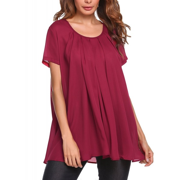 db4cb15696cc8 Women Short Sleeves Flare Tunic Tops For Leggings Flowy Shirt - Wine ...