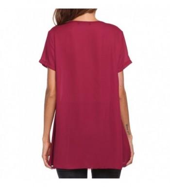 65077024317 Women Short Sleeves Flare Tunic Tops For Leggings Flowy Shirt - Wine ...