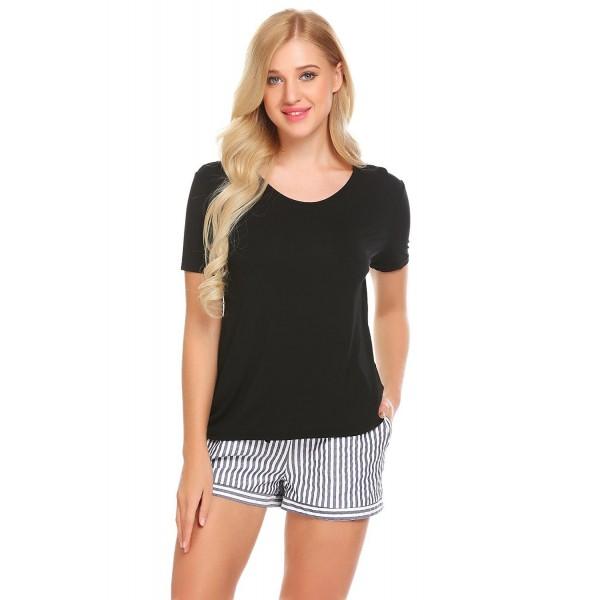82be8c3d2 ... 2 Piece Short Sleeve Shirt Striped PJ Shorts Pajama Set - Black -  C1189T23S3N. sholdnut Womens Sleepwear Sleeve Striped
