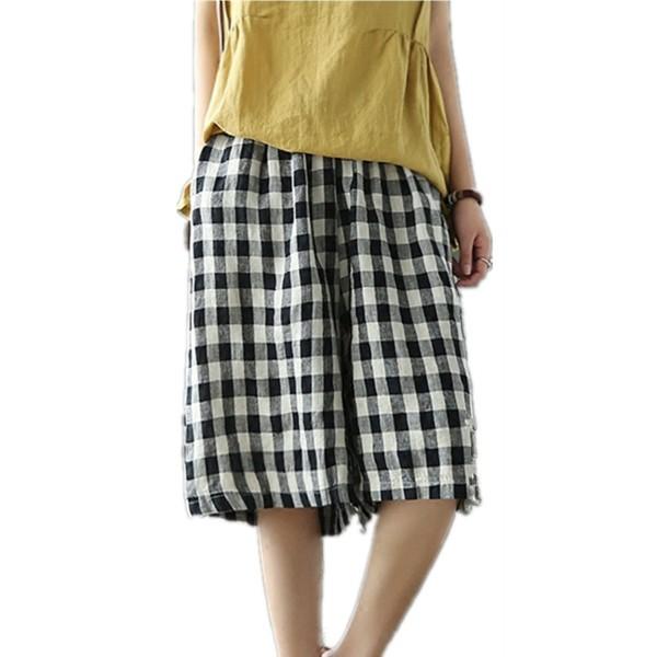 195247315e18 PD7 Cropped Knee Pants Wide Leg 100% Linen Plaid Pants Elastic Waist ...