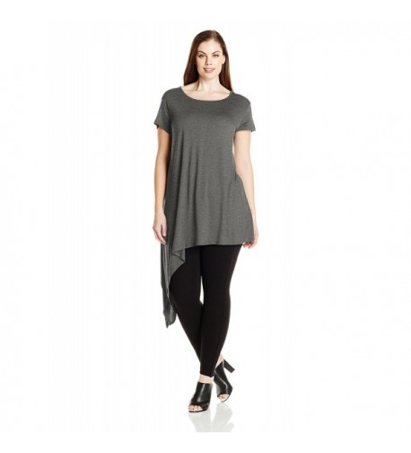 Paper Tee Plus Size Asymmetrical Charcoal