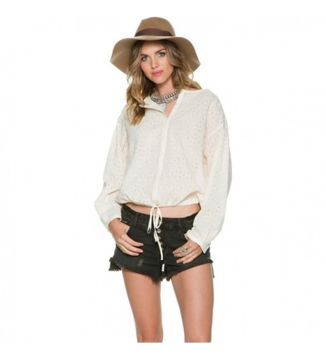 Free People Womens Sleeves Button Down